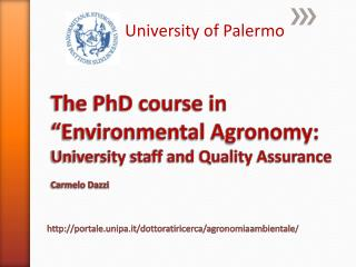 "The PhD course in ""Environmental Agronomy: University  staff and Quality  Assurance Carmelo Dazzi"