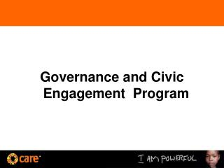 Governance and Civic Engagement  Program