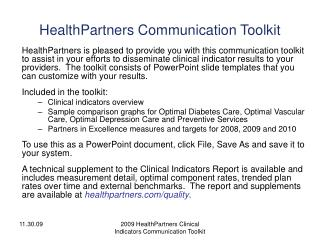 HealthPartners Communication Toolkit