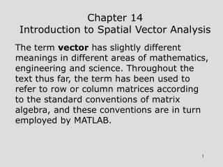 Chapter 14 Introduction to Spatial Vector Analysis
