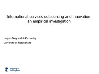 International services outsourcing and innovation:  an empirical investigation