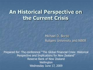An Historical Perspective on the Current Crisis