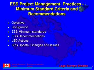 ESS Project Management  Practices - Minimum Standard Criteria and Recommendations