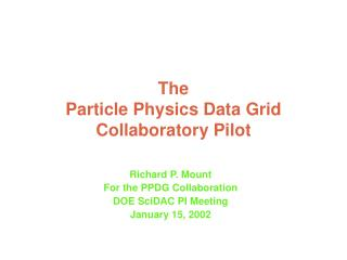 The Particle Physics Data Grid Collaboratory Pilot