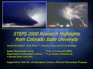 STEPS 2000 Research Highlights from Colorado State University