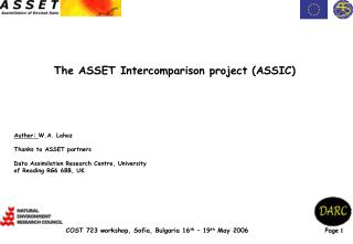 The ASSET Intercomparison project (ASSIC)