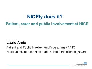 Patient, carer and public involvement at NICE