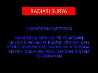 RADIASI SURYA