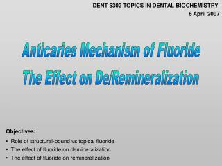 Anticaries Mechanism of Fluoride