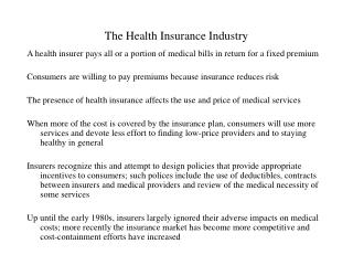 The Health Insurance Industry
