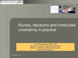 Nurses, decisions and irreducible uncertainty in practice