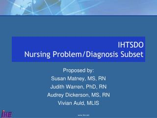 IHTSDO Nursing Problem/Diagnosis Subset