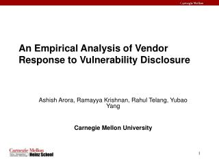 An Empirical Analysis of Vendor Response to Vulnerability Disclosure