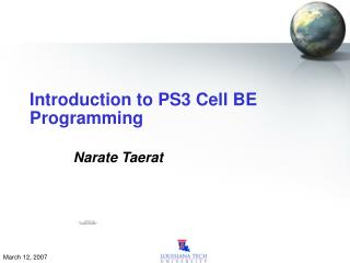 Introduction to PS3 Cell BE Programming