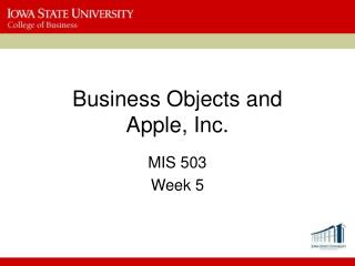 Business Objects and  Apple, Inc.