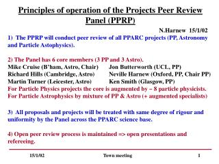Principles of operation of the Projects Peer Review Panel (PPRP)
