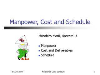 Manpower, Cost and Schedule