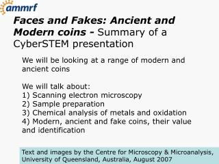 Faces and Fakes: Ancient and Modern coins -  Summary of a CyberSTEM presentation