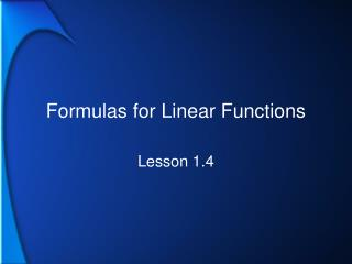 Formulas for Linear Functions