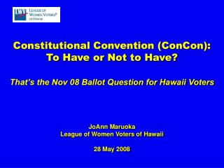 Constitutional Convention (ConCon): To Have or Not to Have?