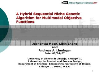 A Hybrid Sequential Niche Genetic Algorithm for Multimodal Objective Functions