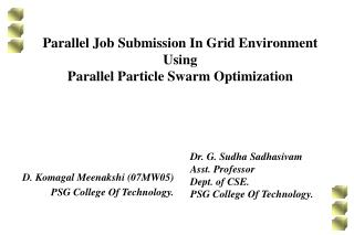 Parallel Job Submission In Grid Environment Using  Parallel Particle Swarm Optimization