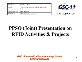 PPSO (Joint) Presentation on RFID Activities & Projects