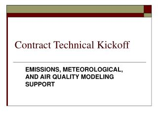 Contract Technical Kickoff