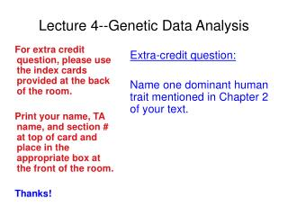 Lecture 4--Genetic Data Analysis