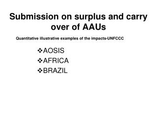 Submission on surplus and carry over of AAUs