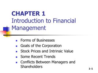 CHAPTER 1 Introduction to Financial Management