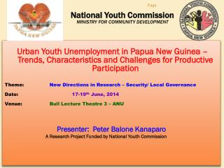 National Youth Commission MINISTRY FOR COMMUNITY DEVELOPMENT
