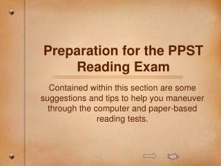 Preparation for the PPST Reading Exam