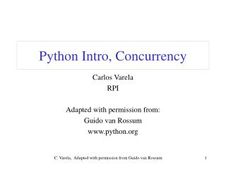 Python Intro, Concurrency