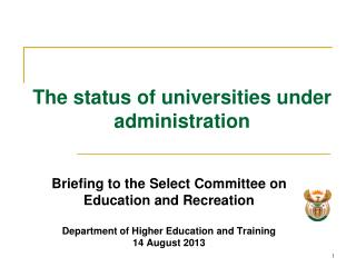 The  status of universities under administration