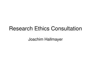 Research Ethics Consultation