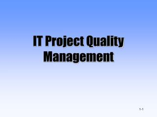 IT Project Quality Management
