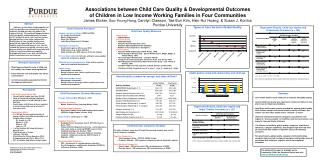Associations between Child Care Quality & Developmental Outcomes