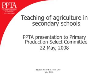 Teaching of agriculture in secondary schools