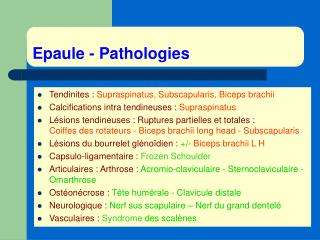 Epaule - Pathologies