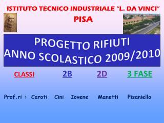 """ISTITUTO TECNICO INDUSTRIALE """"L. DA VINCI"""" PISA CLASSI 2B 2D 3 FASE"""