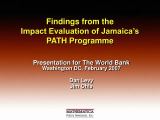 Findings from the  Impact Evaluation of Jamaica's PATH Programme