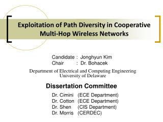 Exploitation of Path Diversity in Cooperative Multi-Hop Wireless Networks