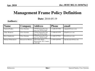 Management Frame Policy Definition