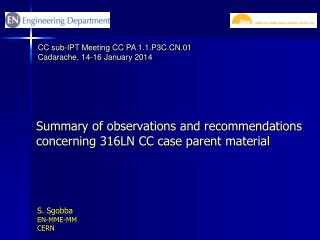 Summary of observations and recommendations concerning 316LN  CC case parent  material