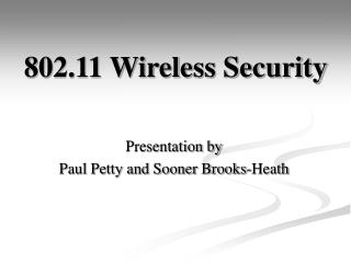 802.11 Wireless Security