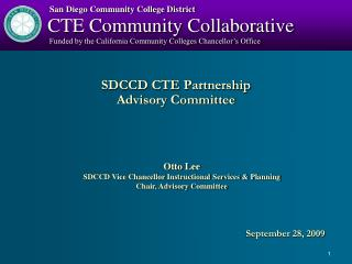 SDCCD CTE Partnership Advisory Committee