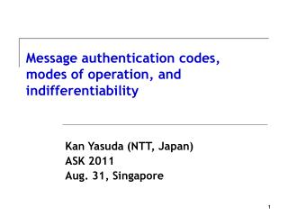 Message authentication codes, modes of operation, and indifferentiability