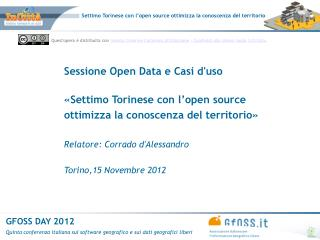 Sessione Open Data e Casi d'uso «Settimo Torinese con l'open source