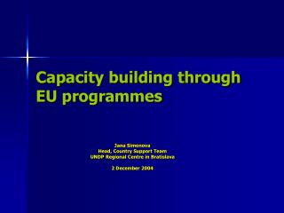 Capacity building through EU programmes